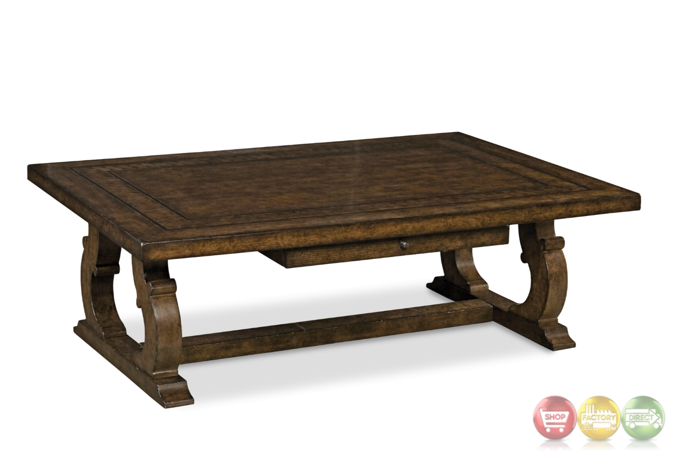 Firenze Ii Tuscan Rectangular Cocktail Table In Alder And Knotty Oak