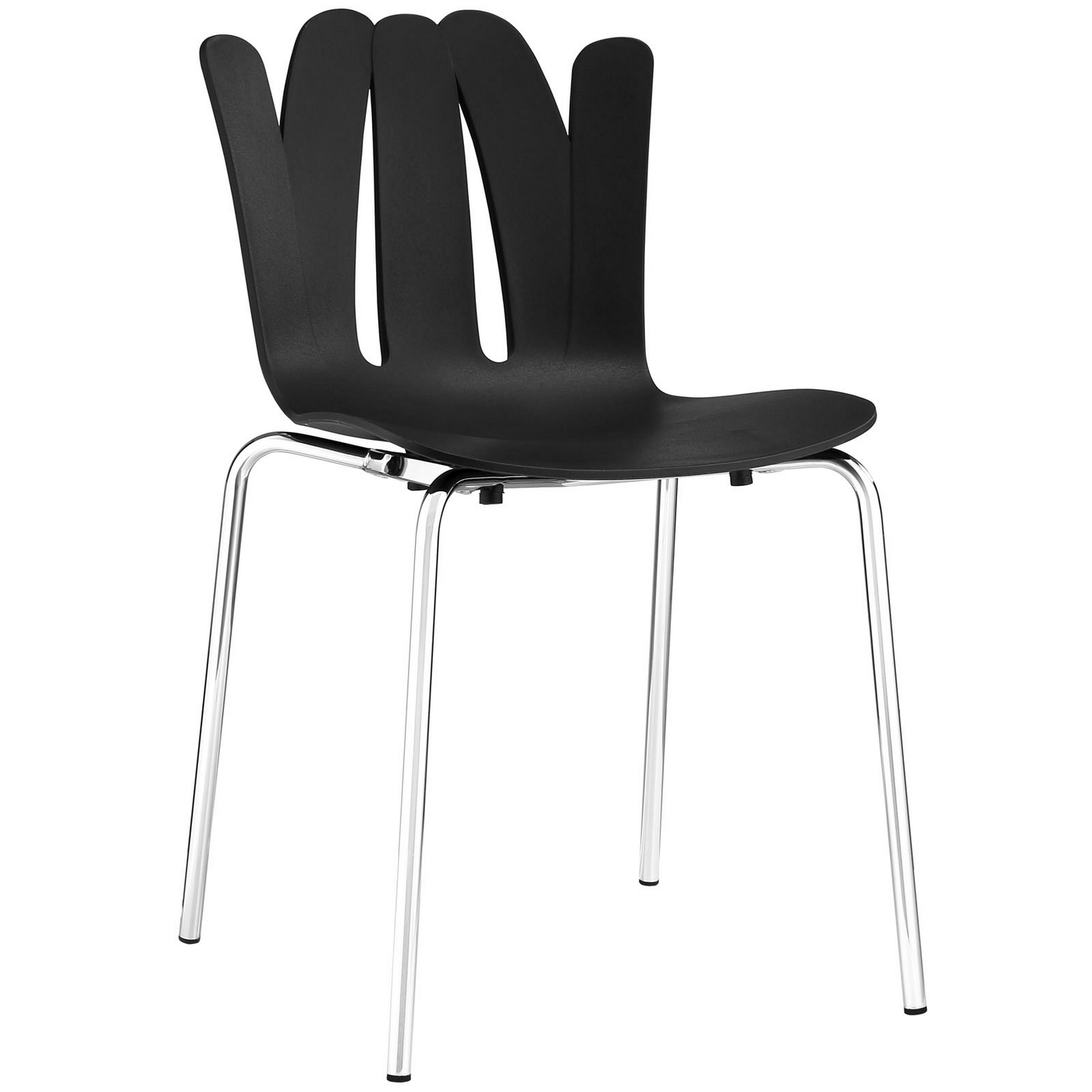 flare modern stackable stylish plastic dining side chair with steel frame black. Black Bedroom Furniture Sets. Home Design Ideas