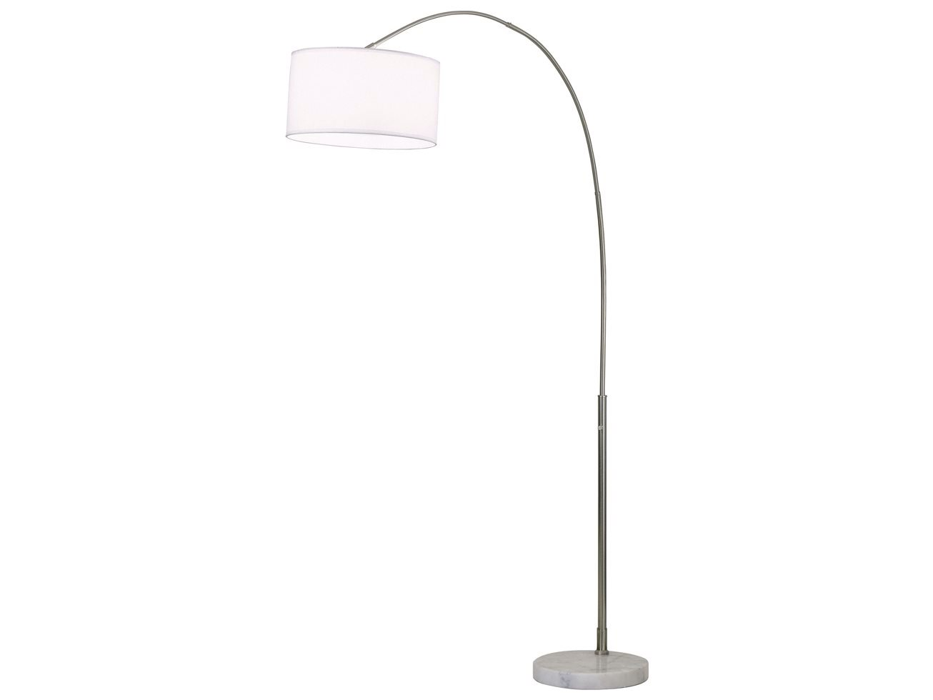 Float Brushed Nickel Amp White Silk Shade Arc Floor Lamp 4453rg