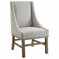 Florence Side Chair in Light Grey With Nailhead Trim, Set of 2