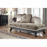 Florence Traditional Chaise Lounge Dark Exposed Wood Frame 618