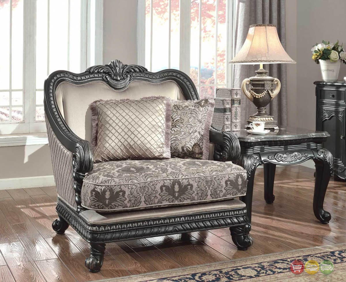 Florence traditional formal living room furniture arm chair dark wood frame - Living room furniture traditional ...