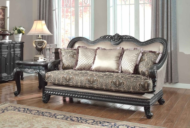 Traditional Formal Living Room Loveseat Dark Wood Frame