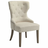 Florence Wingback Dining Chair in Beige With Nailhead Trim