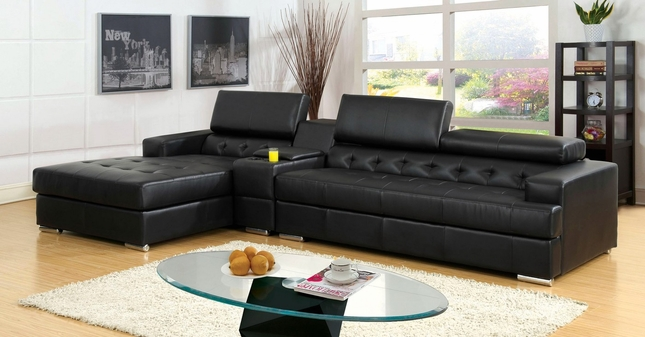 Floria Modern Black Sectional Sofa Set with Pneumatic Gas ...
