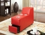 Floria Modern Red Bonded Leather Sectional Sofa Set w/Pneumatic Headrests