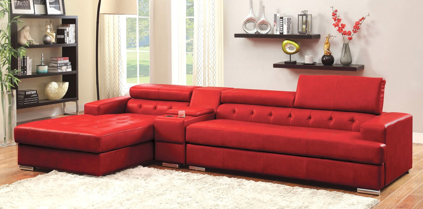 Siena Contemporary Red Bonded Leather Sectional Sofa With Button