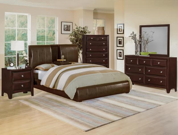 Flynn Low Profile Bed W/ Flip Down Center Console Contemporary Bedroom Set  B6285