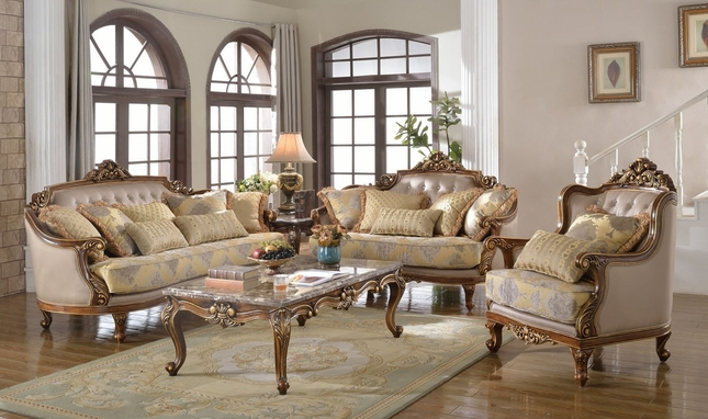 Fontaine Traditional Living Room Set Sofa Love Seat Chair Exposed ...