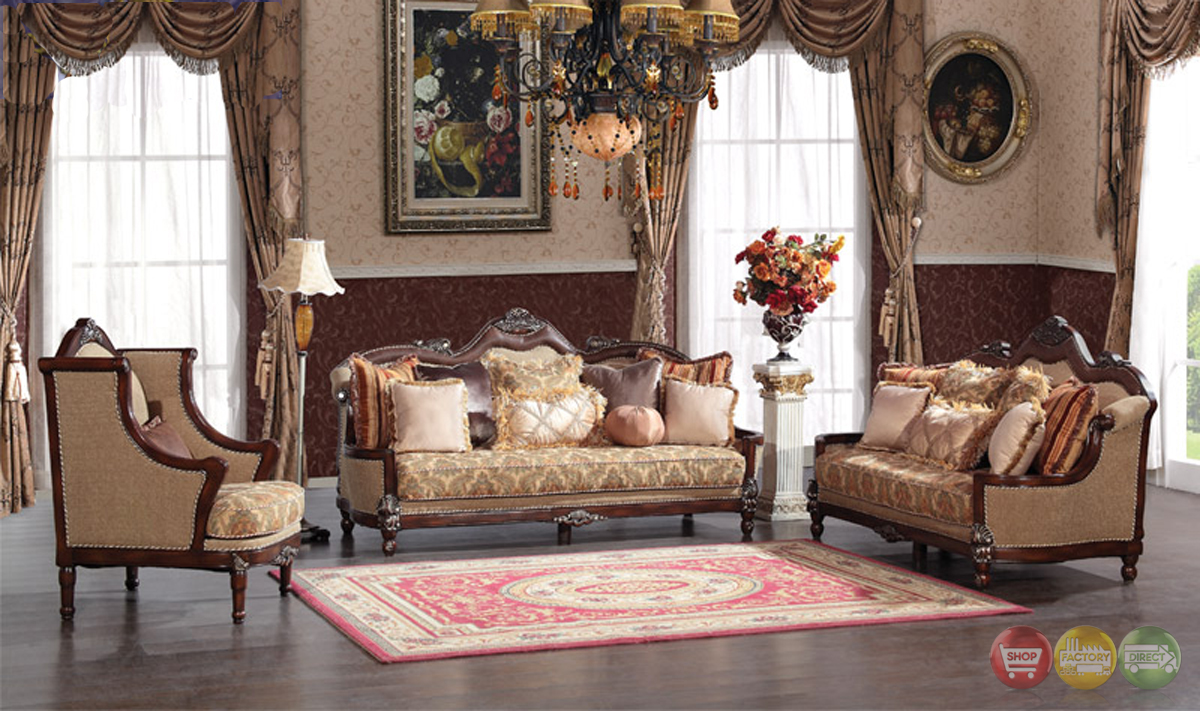 Fontaine Traditional Living Room Set Sofa Love Seat Chair Exposed Wood Victorian Style