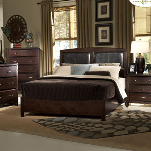 Fontego Queen Size Platform Bed Leather Headboard