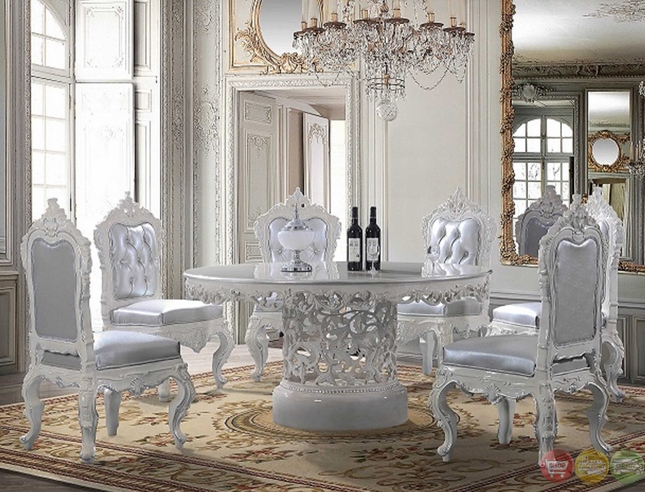 Formal Dining Set With Pedestal Base Ornate Carvings And Bonded Leather Side Chairs Hd