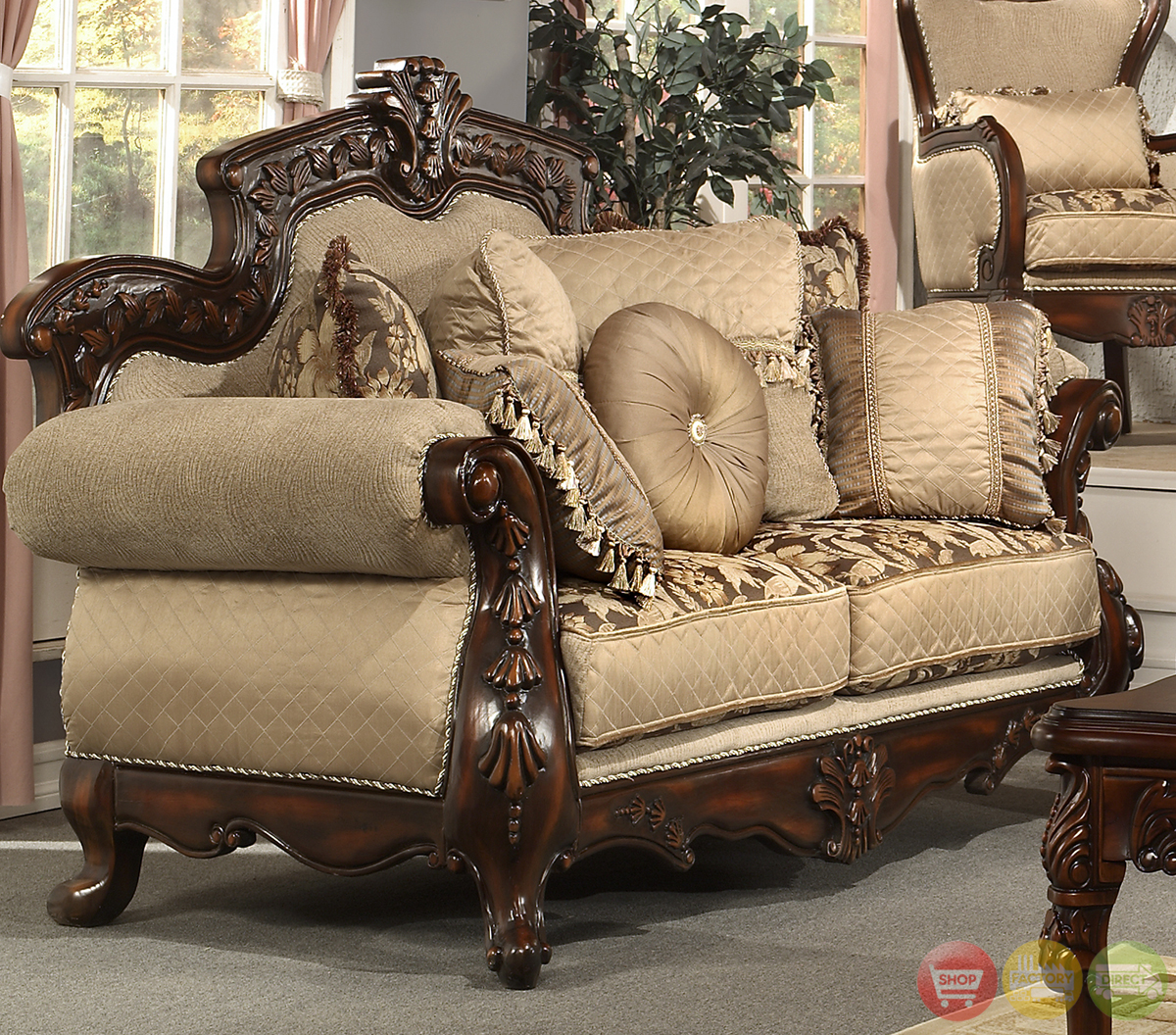 Formal living room antique style luxury sofa set hd 296 Antique loveseat styles