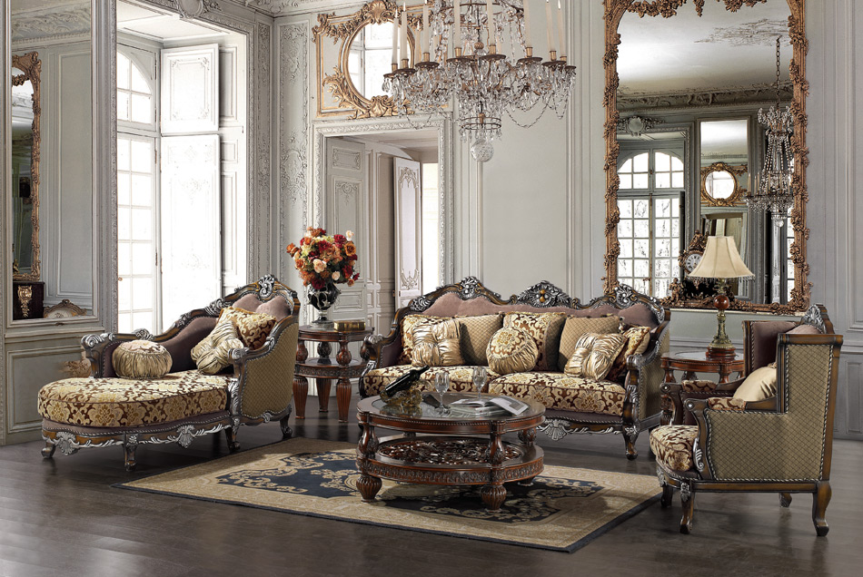 Formal luxury sofa chaise lounge traditional living room set for Formal living room furniture