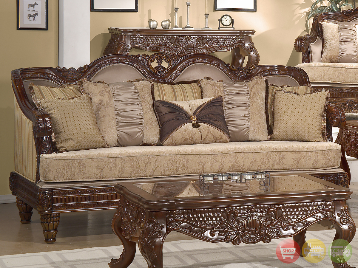 Formal luxury set traditional living room furniture hd 386 cherry - Living room furniture traditional ...