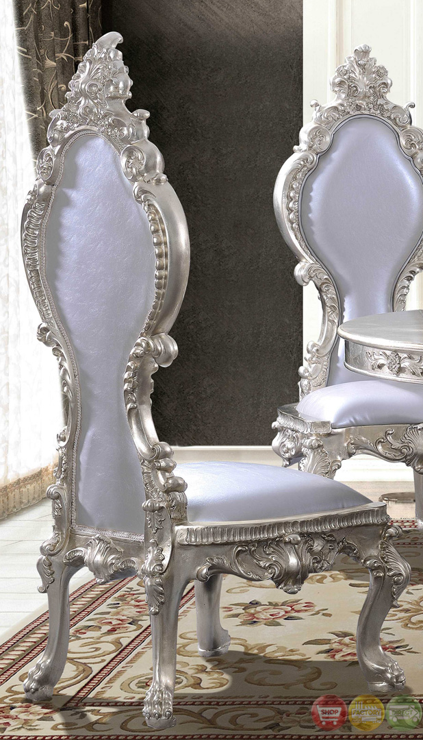 formal dining room sets with leather chairs | Formal Dining Room Table With Ornate Bonded Leather Chairs ...