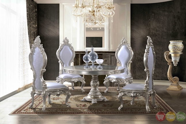Formal Metallic Round Dining Room Table With Ornate Bonded Leather Chairs Hd 13010