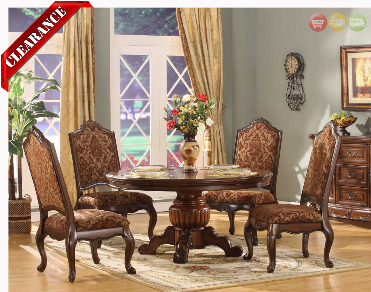 Traditional round walnut finish formal dining set d8401 6060 for Formal dining room table and chairs