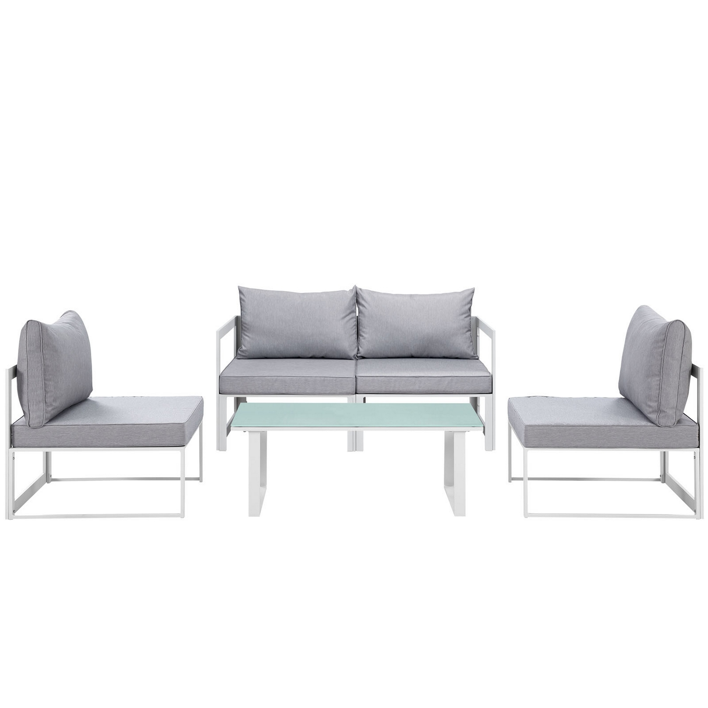 Sectional Gray Sofa Set: Fortuna 5pc Outdoor Patio Sectional Sofa Set W