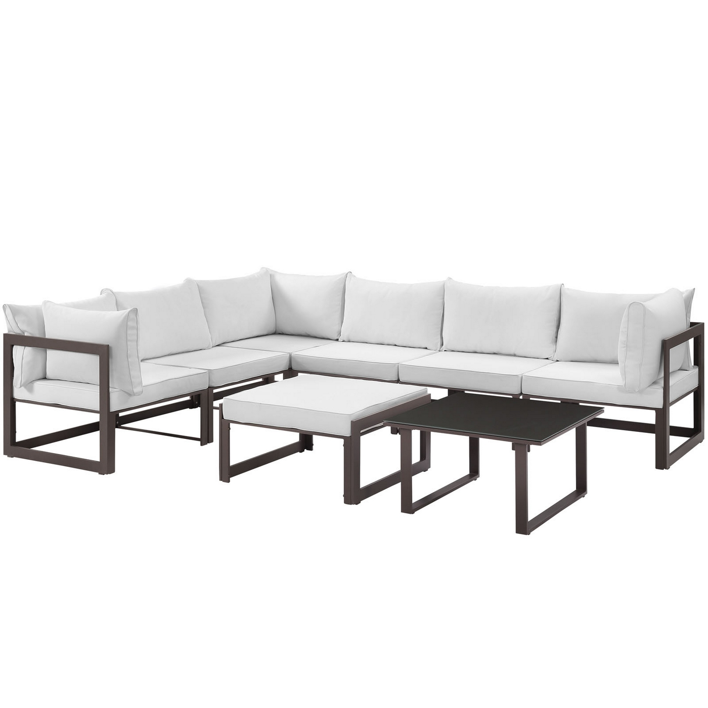 Fortuna 8 Piece Outdoor Patio Sectional Sofa Set w/Upholster