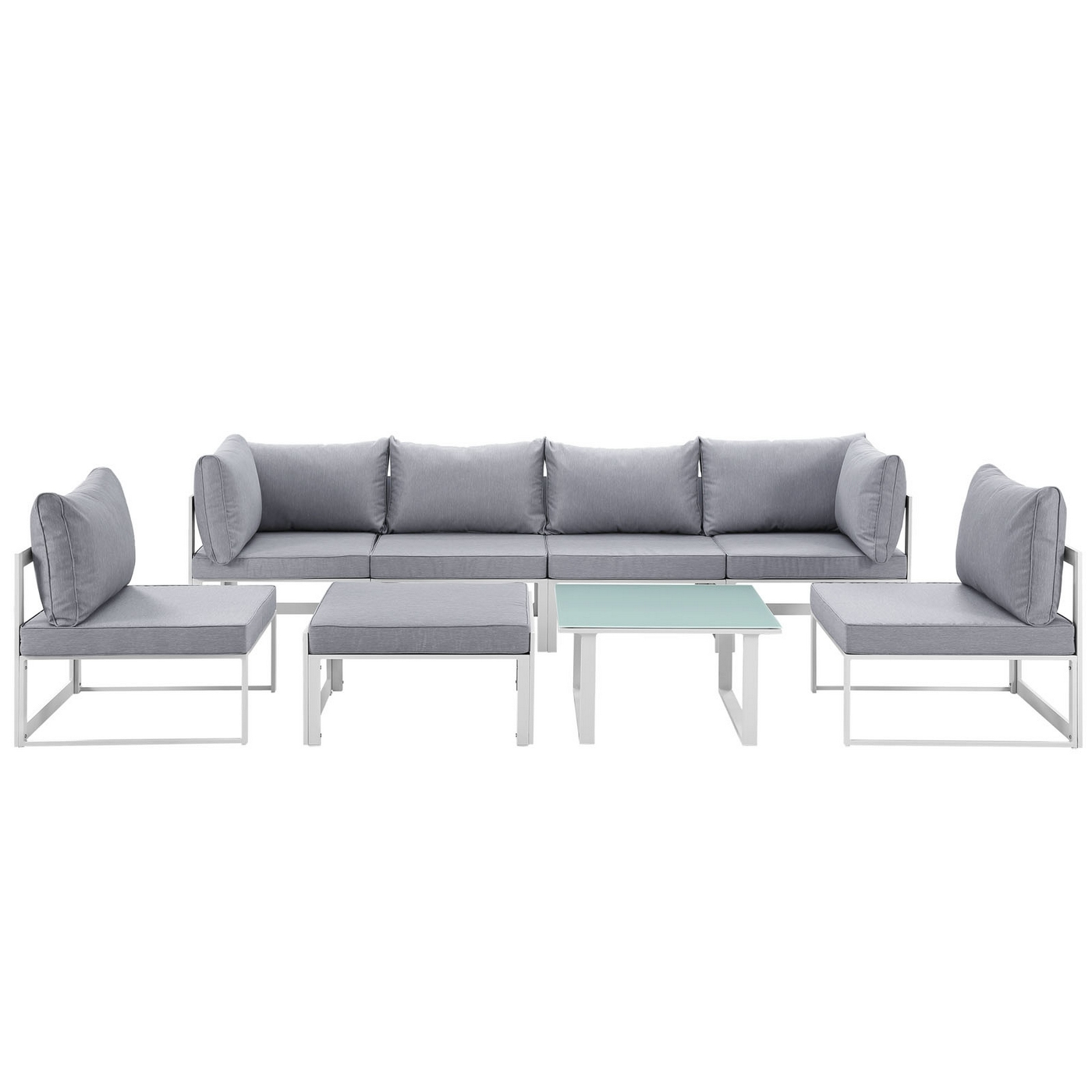 Groovy Details About Fortuna 8 Piece Outdoor Patio Sectional Sofa Set W Upholstered Seat White Gray Customarchery Wood Chair Design Ideas Customarcherynet