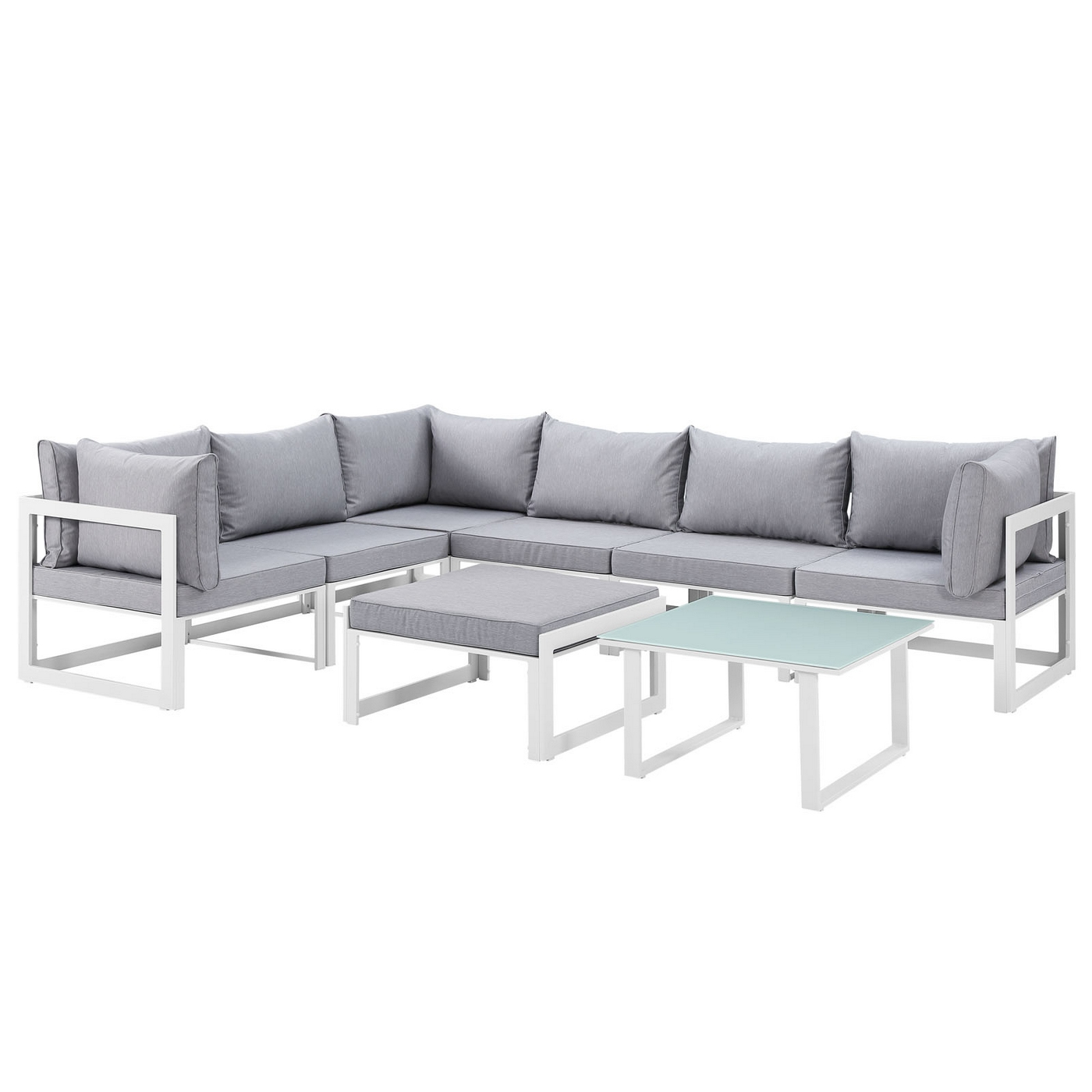 Fortuna 8 Piece Outdoor Patio Sectional Sofa Set w/ Upholste