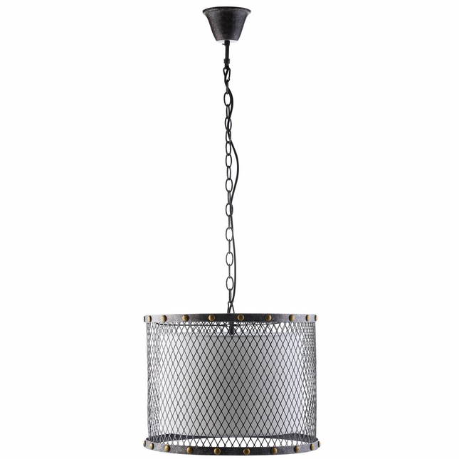 Fortune Industrial Iron Mesh With Nail Head Trim Pendant Chandelier, Antique Silver