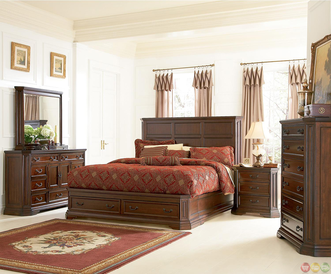 brown bedroom furniture foxhill rich brown finish storage bedroom furniture set 10952
