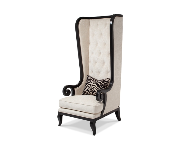 Foxie Antique White High Back Button Tufted Chair In