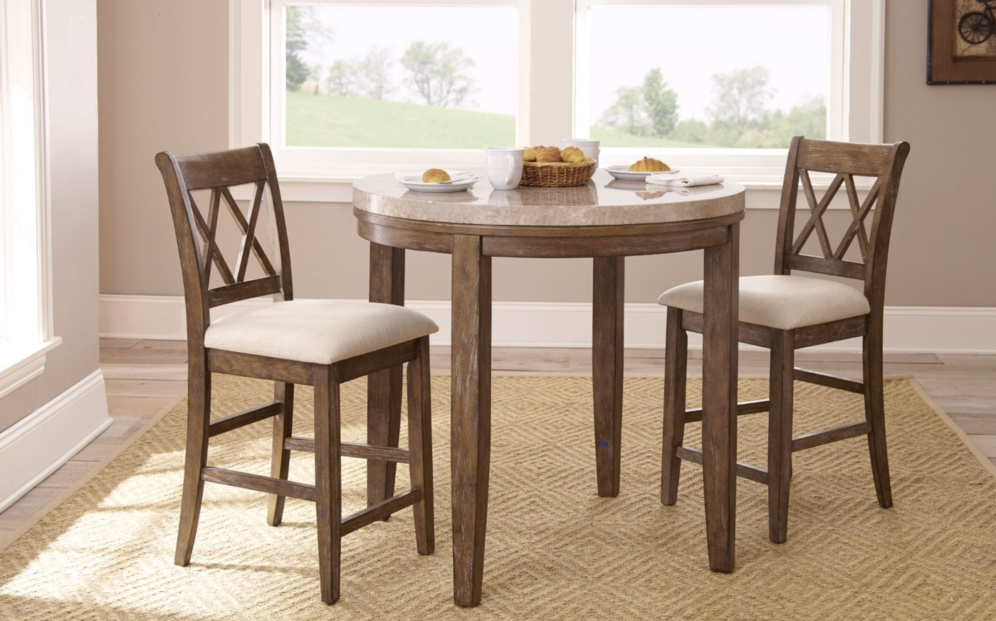 """Shop Checkolite International 4 Light Ashfield Rustic: Franco 40"""" Rustic Marble Counter Height Dining Table With"""