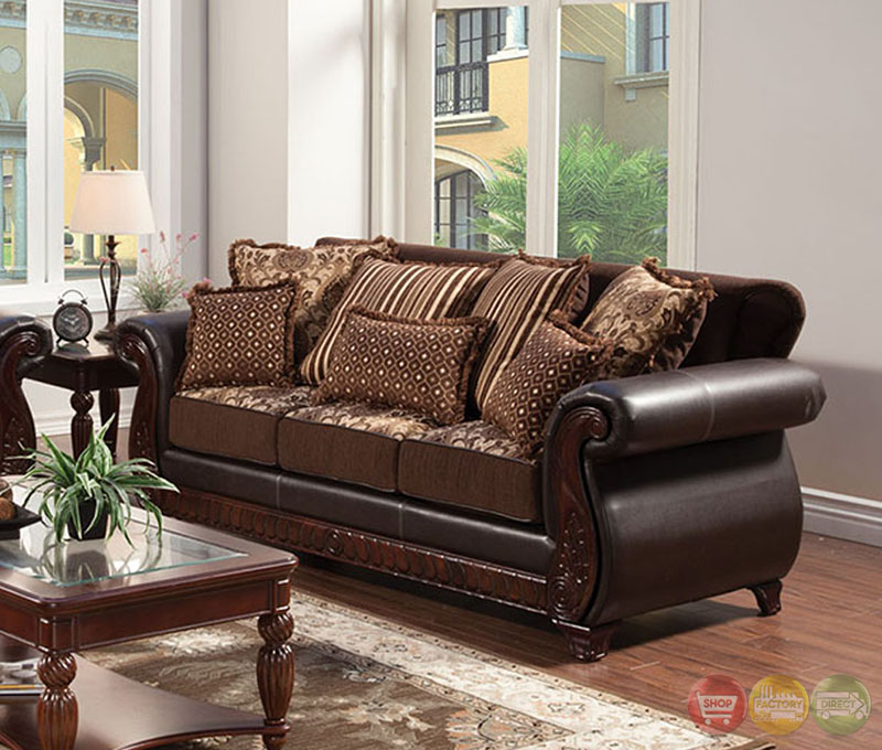 Franklin traditional dark brown living room set with for Dark brown living room set