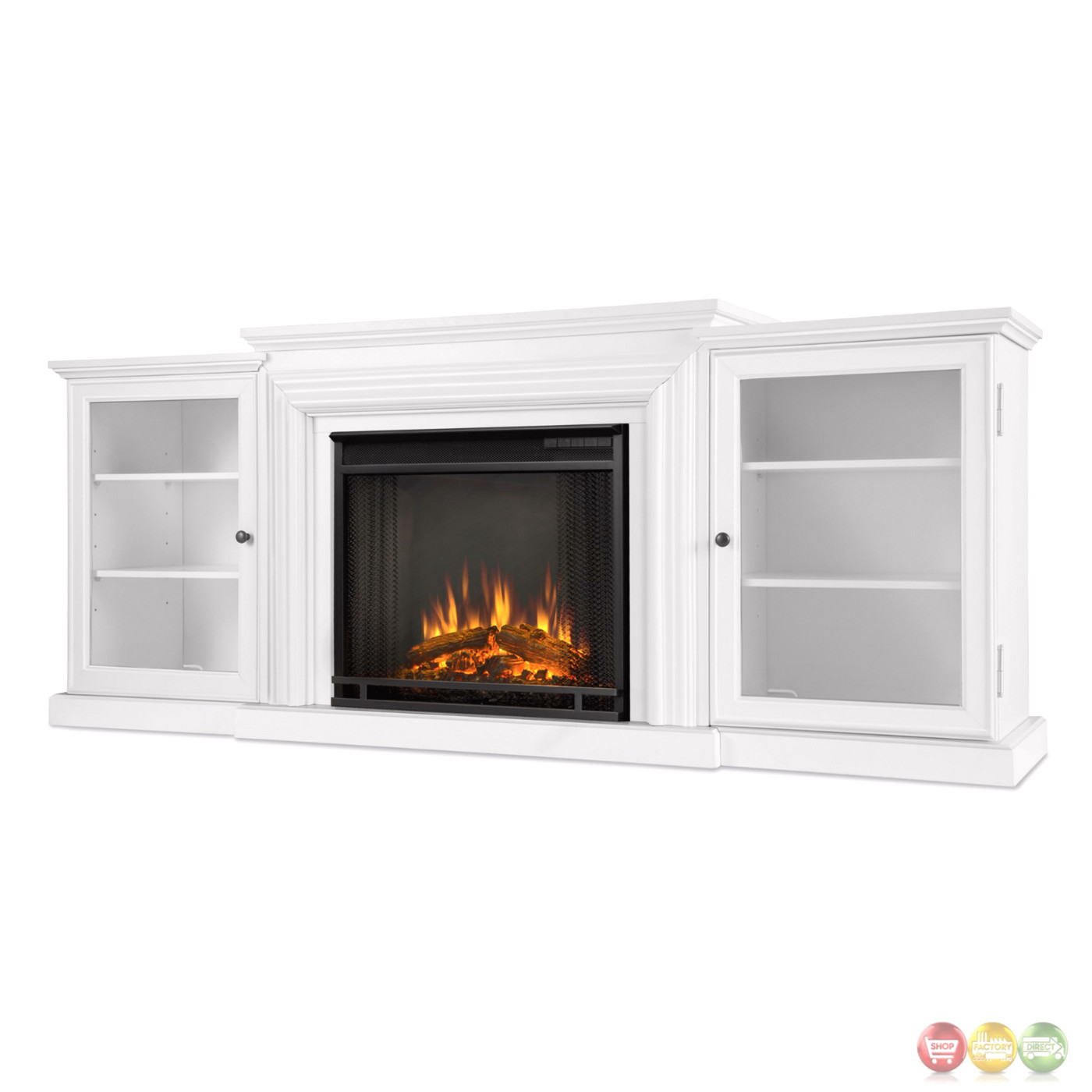 Frederick Entertainment Center Electric Fireplace In White 4700btu 72x30