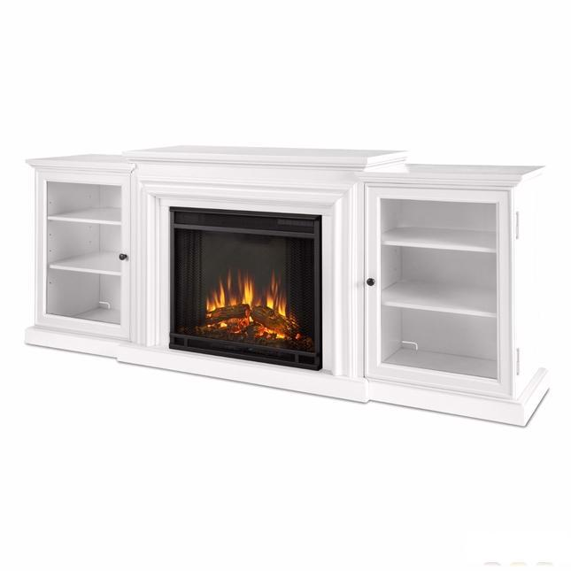 Frederick Entertainment Center Electric Fireplace In White, 4700BTU, 72x30