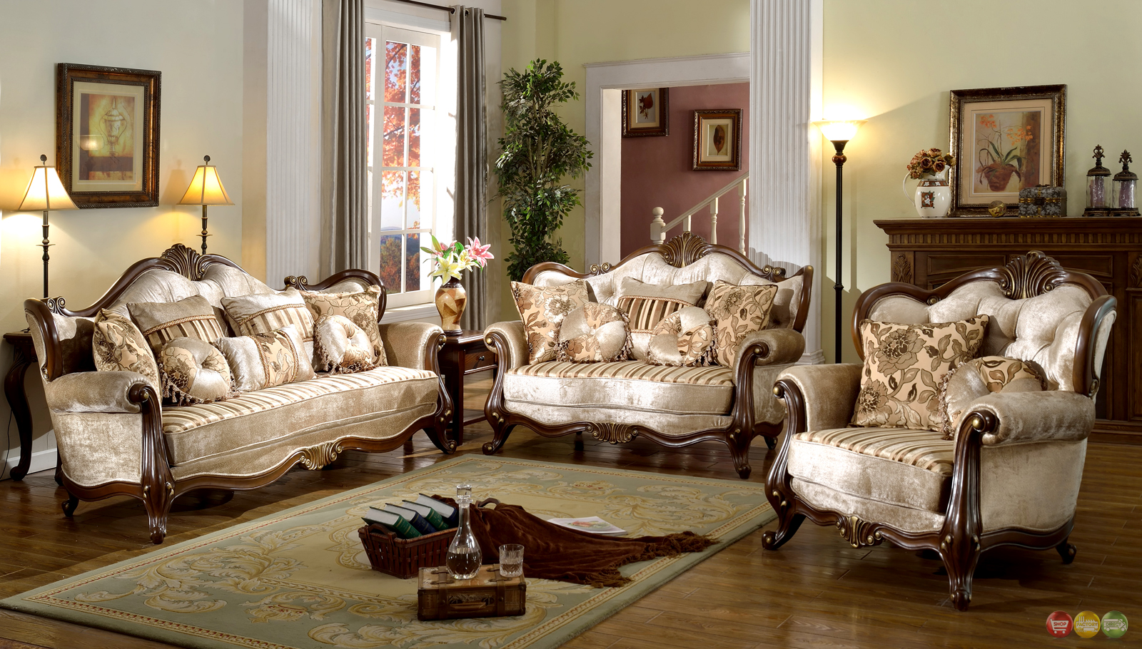 French provincial formal antique style living room for Living room furniture sets
