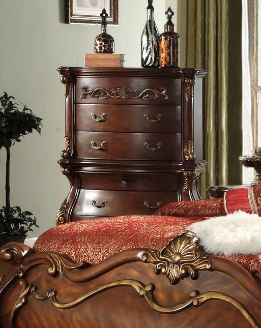 French Rococo Royale 5-Drawer Bombe Chest With Chestnut Finish