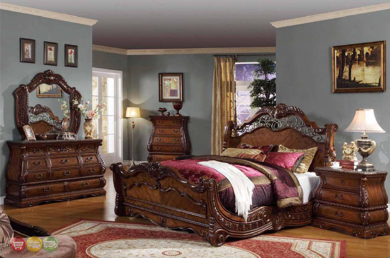 Frontega traditional cherry bedroom furniture sleigh bed w for Traditional bedroom furniture