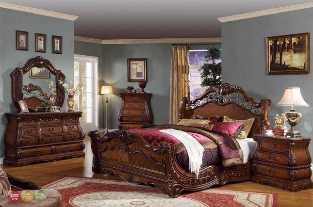 Frontega Traditional Cherry Bedroom Furniture Sleigh Bed w ...
