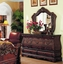 Frontega Traditional Cherry Bedroom Furniture Set Sleigh Bed Bombe Shaped w/ Marble Tops