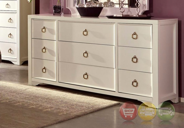 Furiani White 9-Drawer Dresser with Gold Accents