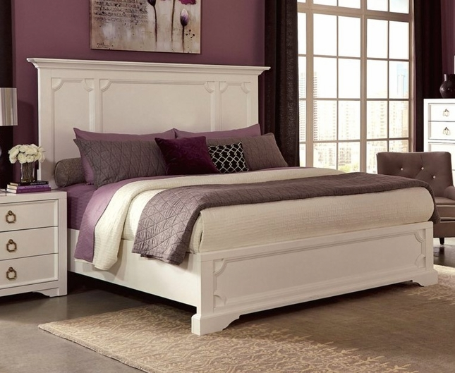 Furiani White California King Bed with Recessed Picture Framed Cases