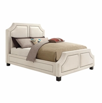 Furiani White Upholstered Queen Bed With Brass Nailhead Trim