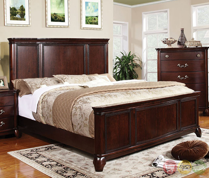 Claymont Traditional Cherry Bedroom Set With Large Raised Panel Headboard Cm7258