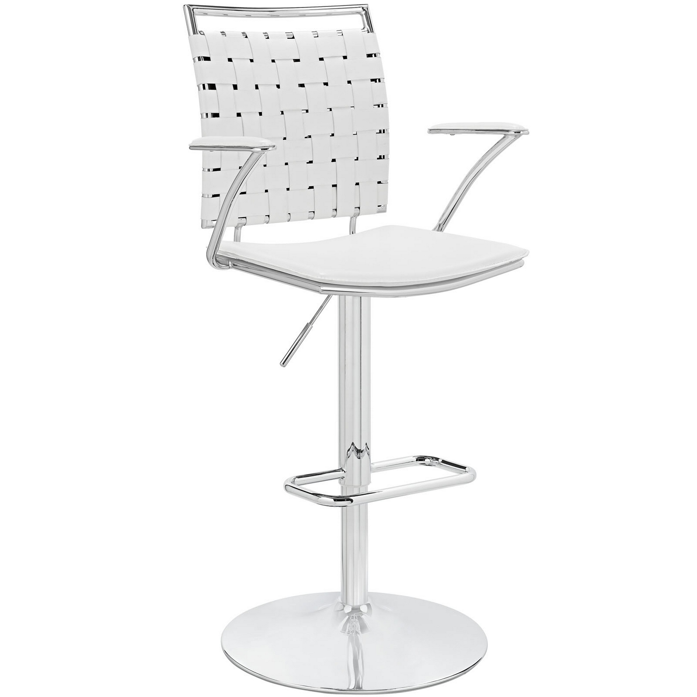 Fuse Modern Adjustable Bar Stool With Webbed Back Amp Chrome