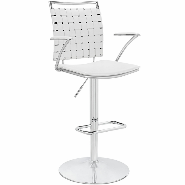 Fuse Modern Adjustable Bar Stool With Webbed Back & Chrome Finish, White