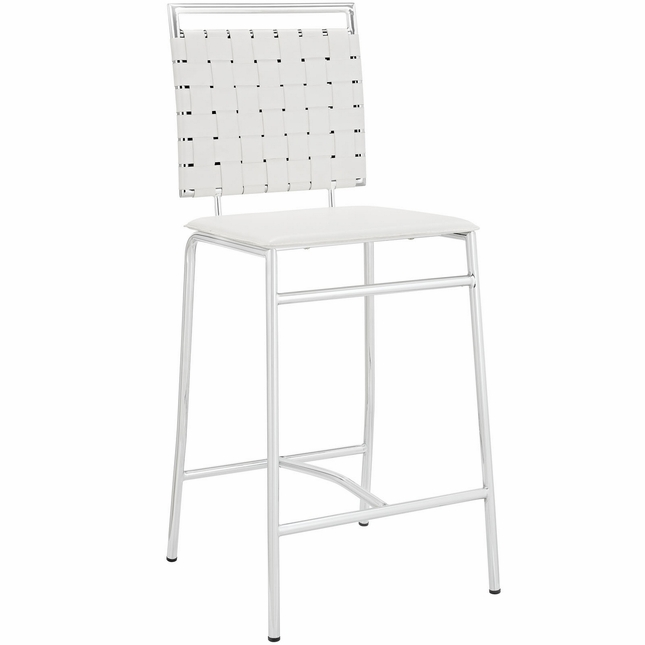 Fuse Modern Counter Height Stool w/ Webbed Back And Chrome Finish, White