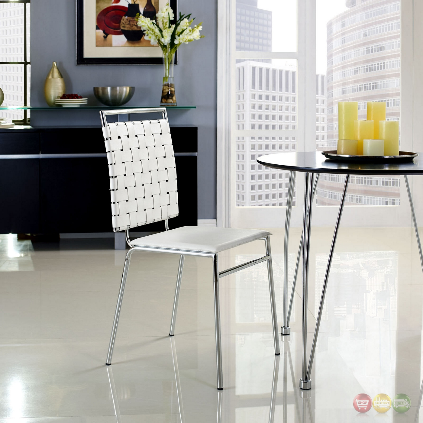 Take A Bite Out Of 24 Modern Dining Rooms: Fuse Modern Dining Side Chair W/ Webbed Back And Chrome