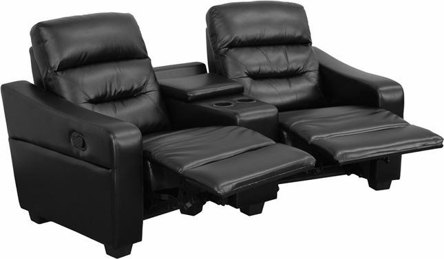 Futura Series 2-seat Reclining Black Leather Theater Seating Unit W/ Cup Holders