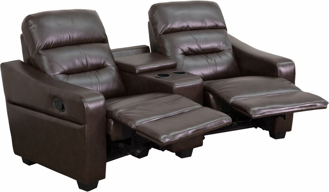 Futura Series 2-seat Reclining Brown Leather Theater Seating Unit W/ Cup Holders