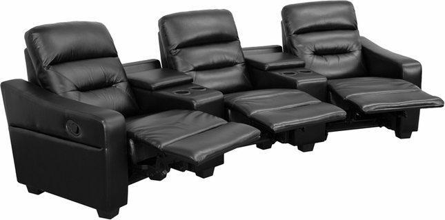 Futura Series 3-seat Reclining Black Leather Theater Seating Unit W/ Cup Holders