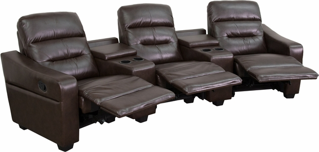 Futura Series 3-seat Reclining Brown Leather Theater Seating Unit W/ Cup Holders